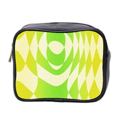 Green Shapes Canvas                              Mini Toiletries Bag (two Sides)