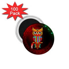 Cute Owl, Mandala Design 1 75  Magnets (100 Pack)