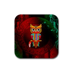 Cute Owl, Mandala Design Rubber Coaster (square)