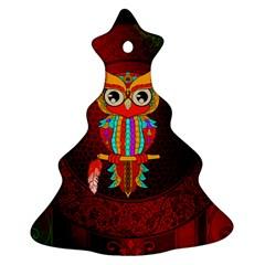 Cute Owl, Mandala Design Christmas Tree Ornament (two Sides)