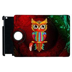 Cute Owl, Mandala Design Apple Ipad 2 Flip 360 Case