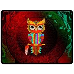 Cute Owl, Mandala Design Double Sided Fleece Blanket (large)