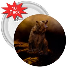 Roaring Grizzly Bear 3  Buttons (10 Pack)
