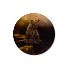 Roaring Grizzly Bear Rubber Coaster (round)
