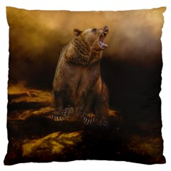 Roaring Grizzly Bear Large Cushion Case (one Side)