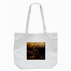 Roaring Grizzly Bear Tote Bag (white)
