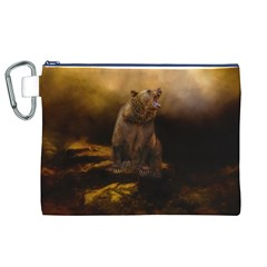 Roaring Grizzly Bear Canvas Cosmetic Bag (xl)