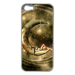 Steampunk Lady  In The Night With Moons Apple Iphone 5 Case (silver)