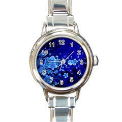 Floral Design, Cherry Blossom Blue Colors Round Italian Charm Watch