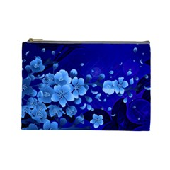 Floral Design, Cherry Blossom Blue Colors Cosmetic Bag (large)