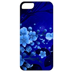 Floral Design, Cherry Blossom Blue Colors Apple Iphone 5 Classic Hardshell Case