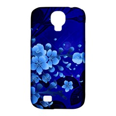 Floral Design, Cherry Blossom Blue Colors Samsung Galaxy S4 Classic Hardshell Case (pc+silicone)