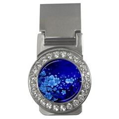 Floral Design, Cherry Blossom Blue Colors Money Clips (cz)