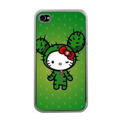 Vector Cat Kitty Cactus Green  Apple Iphone 4 Case (clear)