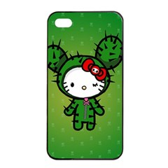 Vector Cat Kitty Cactus Green  Apple Iphone 4/4s Seamless Case (black)
