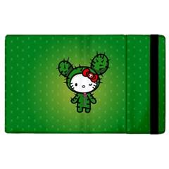 Vector Cat Kitty Cactus Green  Apple Ipad 2 Flip Case