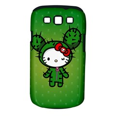 Vector Cat Kitty Cactus Green  Samsung Galaxy S Iii Classic Hardshell Case (pc+silicone)