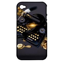 Typewriter Skull Witch Snake  Apple Iphone 4/4s Hardshell Case (pc+silicone)
