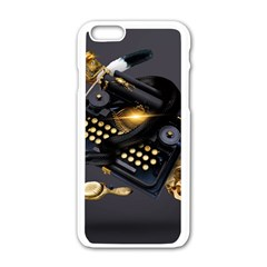 Typewriter Skull Witch Snake  Apple Iphone 6/6s White Enamel Case