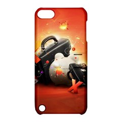 Suitcase Orange Red Black White  Apple Ipod Touch 5 Hardshell Case With Stand