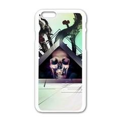 Skull Triangle Wood  Apple Iphone 6/6s White Enamel Case