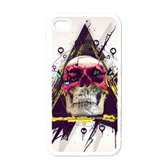 Skull Paint Butterfly Triangle  Apple Iphone 4 Case (white)