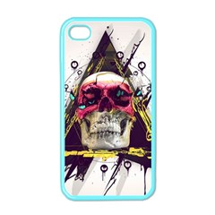 Skull Paint Butterfly Triangle  Apple Iphone 4 Case (color)