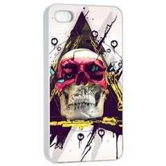 Skull Paint Butterfly Triangle  Apple Iphone 4/4s Seamless Case (white)