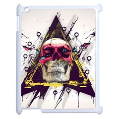 Skull Paint Butterfly Triangle  Apple Ipad 2 Case (white)