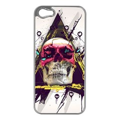 Skull Paint Butterfly Triangle  Apple Iphone 5 Case (silver)