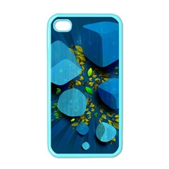 Cube Leaves Dark Blue Green Vector  Apple Iphone 4 Case (color)