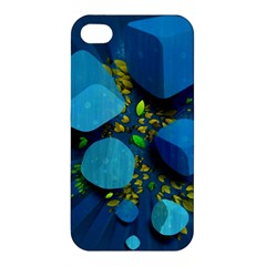Cube Leaves Dark Blue Green Vector  Apple Iphone 4/4s Hardshell Case