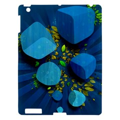 Cube Leaves Dark Blue Green Vector  Apple Ipad 3/4 Hardshell Case