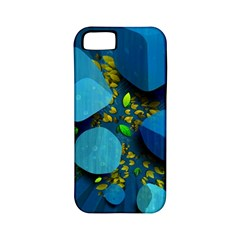 Cube Leaves Dark Blue Green Vector  Apple Iphone 5 Classic Hardshell Case (pc+silicone)