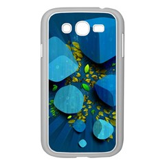 Cube Leaves Dark Blue Green Vector  Samsung Galaxy Grand Duos I9082 Case (white)