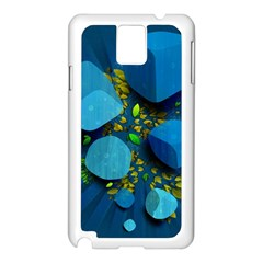 Cube Leaves Dark Blue Green Vector  Samsung Galaxy Note 3 N9005 Case (white)