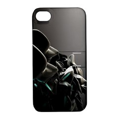 Black White Figure Form  Apple Iphone 4/4s Hardshell Case With Stand