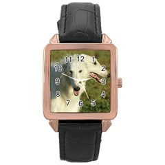 2 Borzois Rose Gold Leather Watch