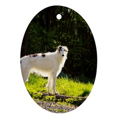 Borzoi In Woods Ornament (oval)
