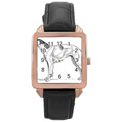 Borzoi Drawing Rose Gold Leather Watch