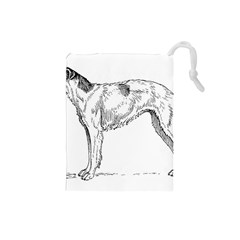 Borzoi Drawing Drawstring Pouches (small)