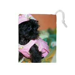 Brussels Griffon Dressed In Pink Drawstring Pouches (medium)