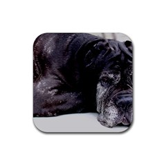 Neapolitan Mastiff Laying Rubber Square Coaster (4 Pack)