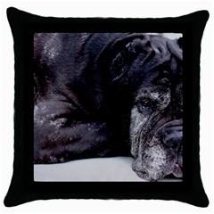 Neapolitan Mastiff Laying Throw Pillow Case (black)
