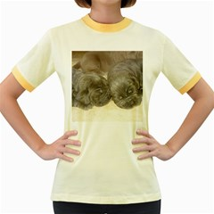 Neapolitan Pups Women s Fitted Ringer T Shirts