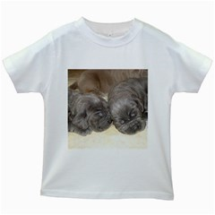 Neapolitan Pups Kids White T Shirts