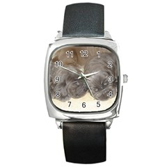 Neapolitan Pups Square Metal Watch