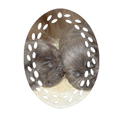 Neapolitan Pups Oval Filigree Ornament (two Sides)