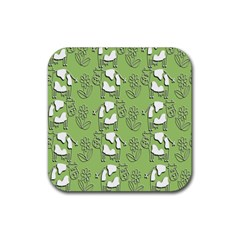 Cow Flower Pattern Wallpaper Rubber Square Coaster (4 Pack)