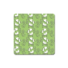 Cow Flower Pattern Wallpaper Square Magnet